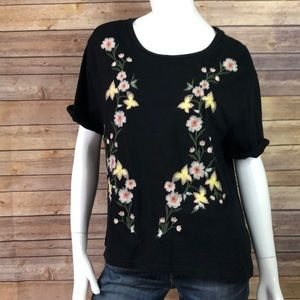 Philosophy floral embroidered short sleeve tee